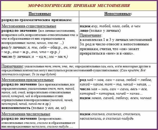 Морфологические признаки местоимения