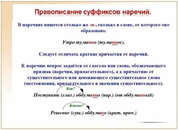 Правописание суффиксов наречий