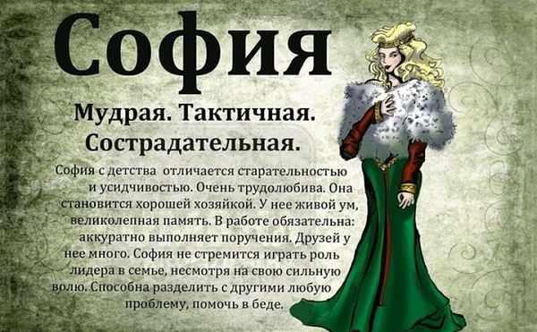 Значение имени София
