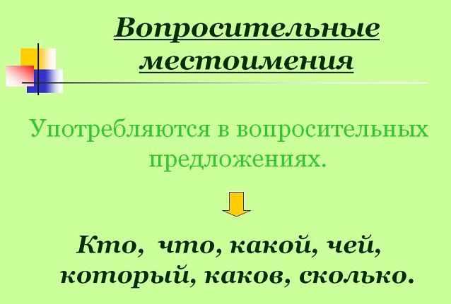 Вопросительные местоимения в русском языке