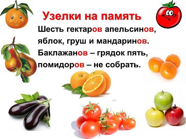 Множественное число фруктов и овощей