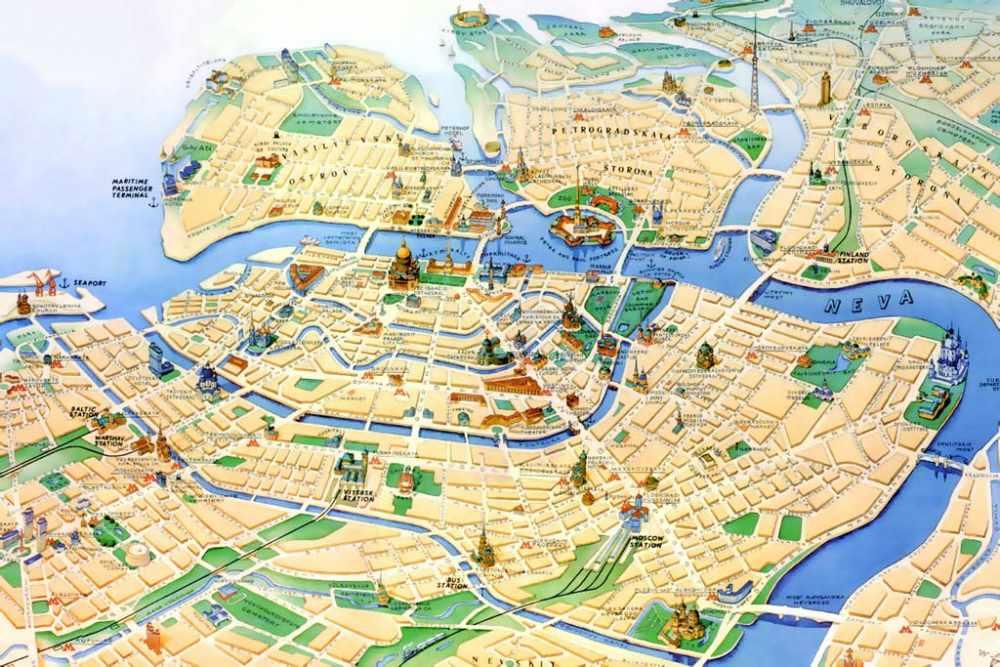Карта центра Петербурга. Карта Петербурга с улицами и домами ...