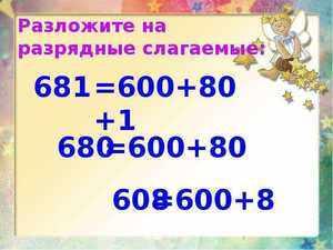 Разложение на разрядные слагаемые в математике