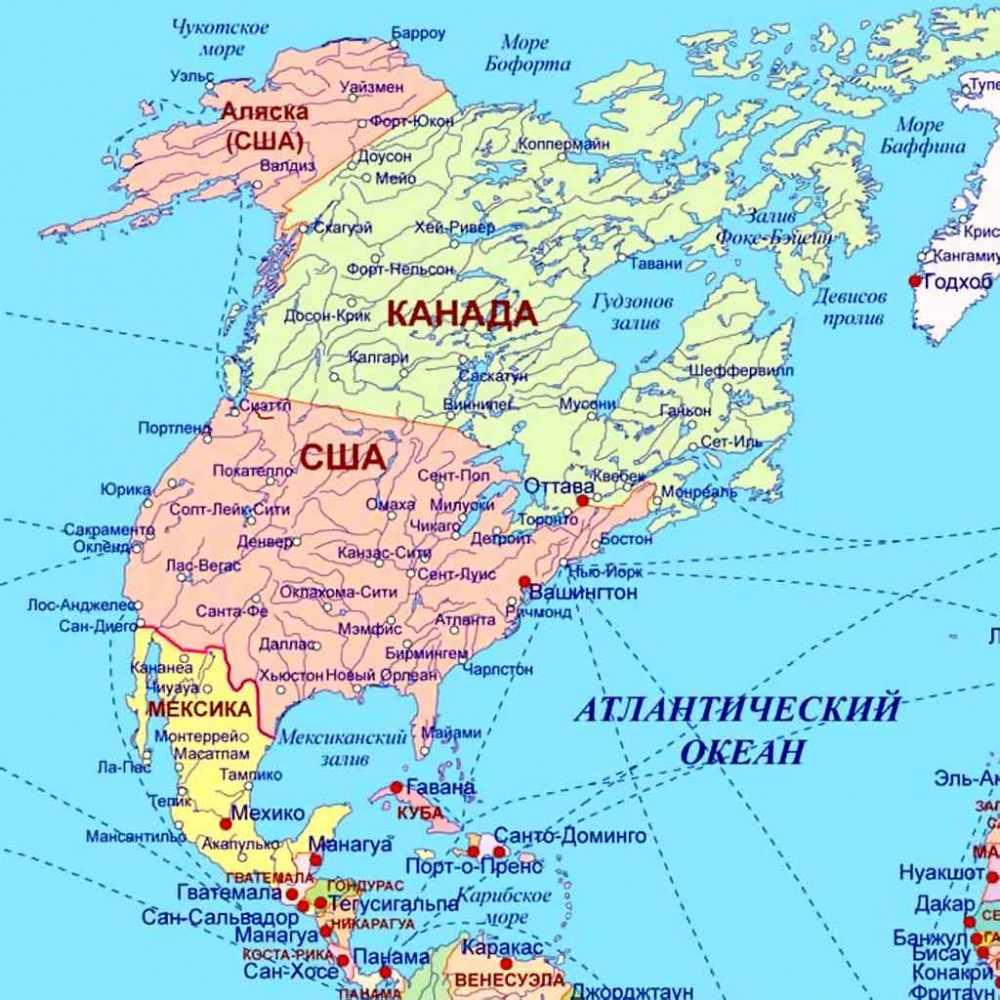 Карта Северной америки. Какие страны находятся в Северной америке ...