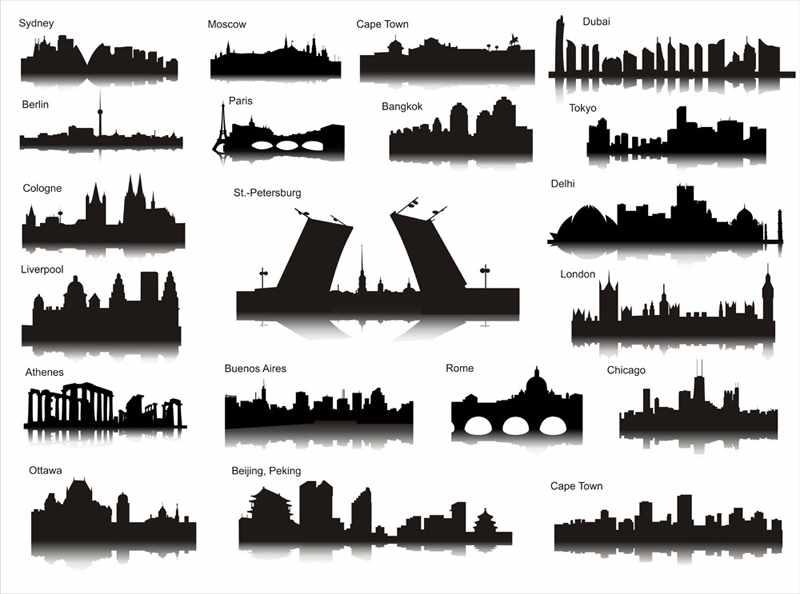 Cамостоятельные путешествия по Европе и миру.: Силуэты городов мира