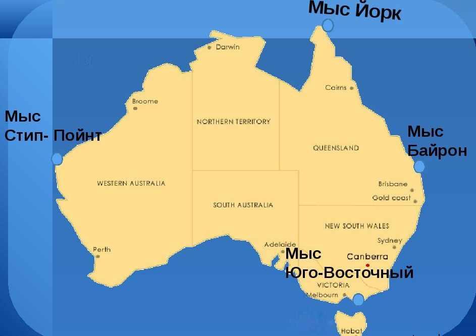 Крайние точки Австралии. Характеристика материка