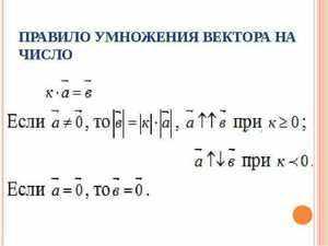 Основания для умножения вектора на число
