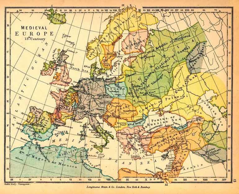 Карта средневековой Европы