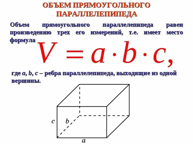 Формула объем прямоугольника