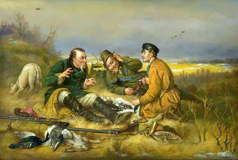 Описание картины охотники на привале