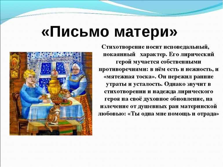 Тема стиха «Письмо матери» Сергея Есенина
