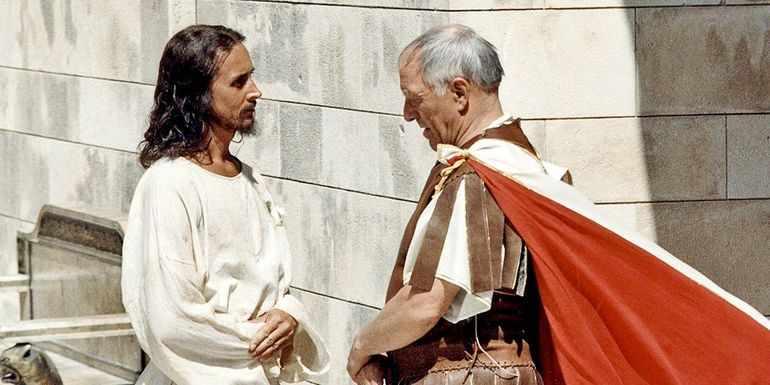 Сцена разговора Иисуса с Понтием Пилатом