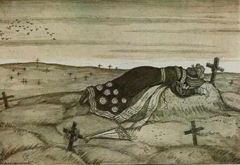 Девушка идёт на кладбище и долго плачет на заросшей могиле отца