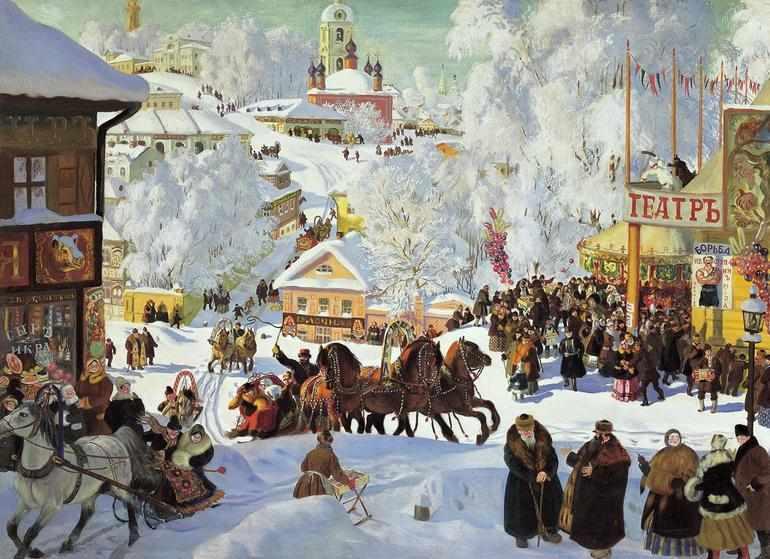 Картина Кустодиева «Масленица»