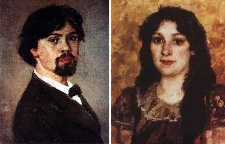 Василий Иванович Суриков и его жена