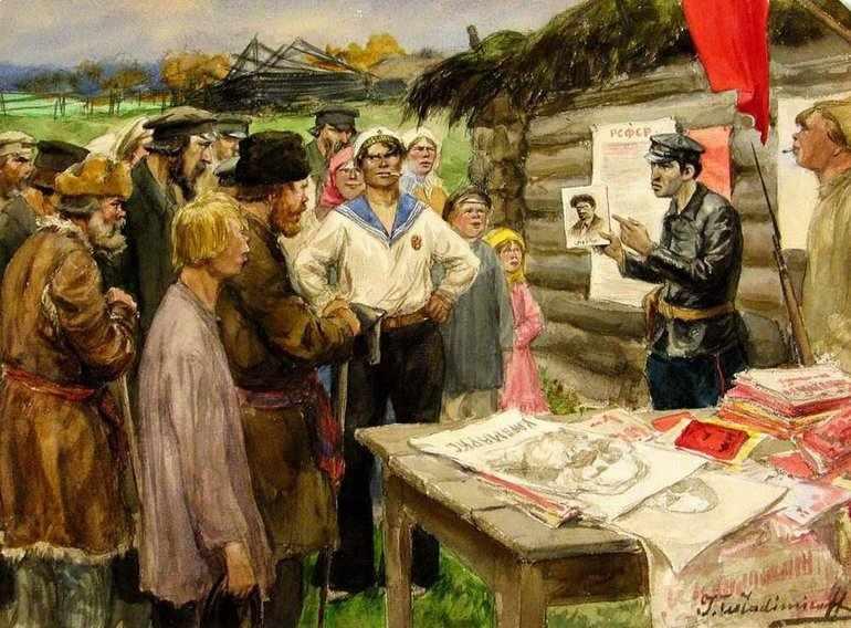 Революционеры-народники агитируют крестьян