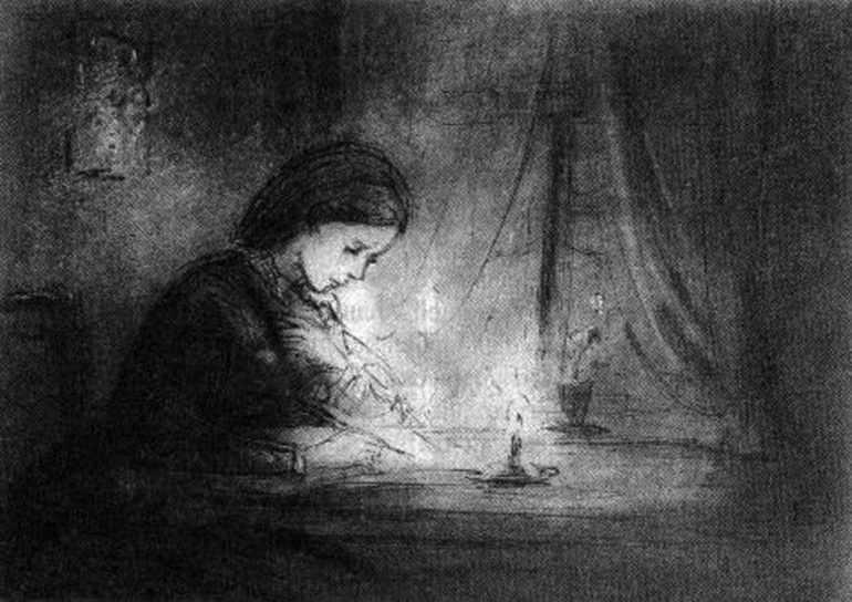 Варенька пишет письмо