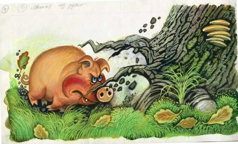 Басня Крылова «Свинья под Дубом»