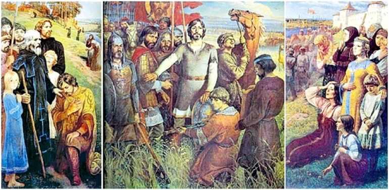 Картина Юрия Ракши «Проводы ополчения»