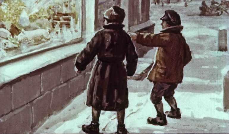 Двое мальчиков с упоением рассматривали богато украшенную витрину